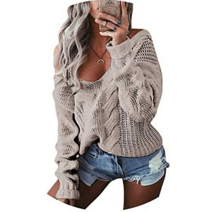world-palm Winter Sexy Deep V-Neck Twist Knitted Sweaters Women Long Sleeve Off Shoulder Sweater