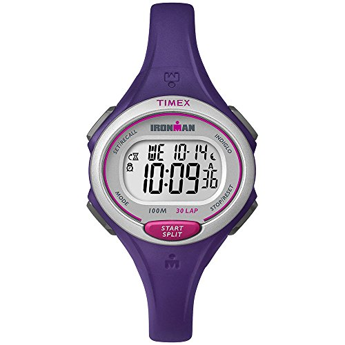 Workout-friendly stopwatch with 30-lap memory. Countdown timer with alarm. Easy to view in low-light conditions with Indiglo night-light. Durable and lightweight resin case; resin strap. Water resistant to 100 m.