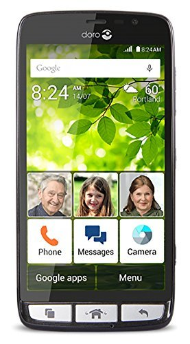 Doro 824 Senior-Friendly, easy-to-use Android Smartphone w/5-inch Display, 1.2GHz Quad-Core Processor, 8MP Camera (Black)