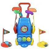 ToyVelt Kids Golf Club Set – Golf CartWith Wheels, 4 Colorful Golf Sticks, 4 Balls & 2 Practice Holes – Fun Young Golfer Sports Toy Kit for Boys &Girls – Promotes Physical & Mental Development