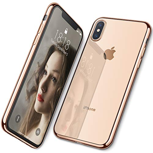 DTTO Case for iPhone Xs, [Lightening Series] Clear Stylish Flexible Case with Metal Luster Edge for Apple iPhone Xs(2018), Also Compatible with iPhone X(2017) 5.8 Inch - Gold