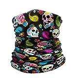 WIRESTER Bandana Mask, Headwear, Scarf for Running, Cycling, Fishing, UV Protection - Colorful Sugar Skulls, Medium
