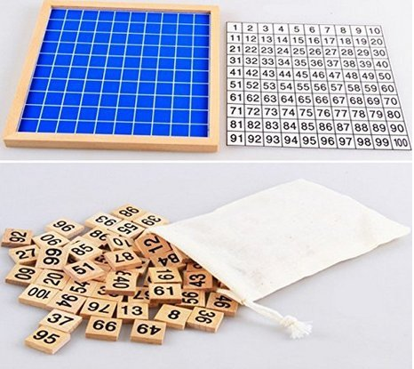 YEHAM Montessori Game Wooden Hundred Board Number Chart Number Grid Educational Game for Kids