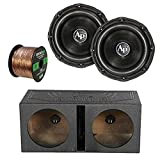 2X Audiopipe 12' Triple Stack Subwoofer, QPOWER QBOMB12V 12' Rhino Lined Dual Vented Subwoofer Box Enclosure, Enrock Audio 16-Gauge 50 Foot Speaker Wire