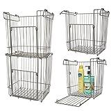 Glacier Bay (4 Pack) Stackable Baskets: Large Metal Basket, Wire Basket Set For Storage, Organization, Pantry, Closet, Kitchen, Bathroom