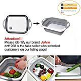 Julvie Collapsible Cutting Board with Dish Tub,Colander Fruits Vegetables Wash and Drain Sink Storage Basket 3 in 1 Multifunctional Kitchen Gadget
