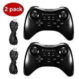 Kulannder Wii U Pro Controller- Perfect Gift for Kids -Wireless Rechargeable Bluetooth Dual Analog Controller Gamepad for Nintendo Wii U with USB Charging Cable (2-Pack Black)