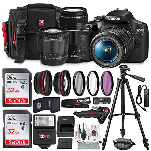 Canon-T7-EOS-Rebel-DSLR-Camera-with-18-55mm-and-75-300mm-Lenses-Kit-UV-Filter-Set-Tripods-Flash-32GB-Dual-SD-Card-Accessory-Bundle