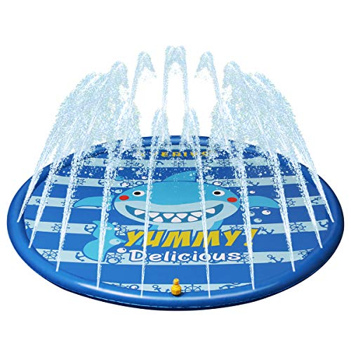 Kyerivs Sprinklers for Kids Splash Water Play Mat for Children Outdoor Sprinkler Pad Great Summer Fun 60inch