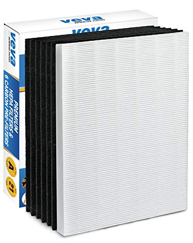 VEVA HEPA Filter with 6 Activated Carbon Pre Filters Compatible with 115115 Size 21 Filter A and WX Air Purifier P300, 5300, 5500, 6300, C535 & 290, 300, DX95, AP-300PH