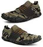 WHITIN Men's Trail Running Shoes Minimalist Barefoot 5 Five Fingers Wide Width Toe Box Gym Workout Fitness Low Zero Drop Male Sneakers Treadmill Free Athletic Ultra Camo Green Size 11