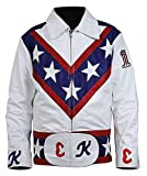 Infinite-Shop Evel Knievel Daredevil Motorcycle White Leather Jacket Costume