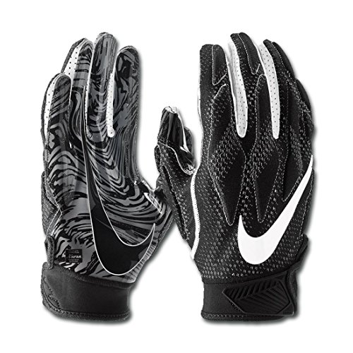 Nike Men's Super Bad 4.5 Football Gloves Black/White (X-Large, Black/White)