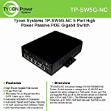 Tycon Systems TP-SW5G-NC 5 Port High Power Passive POE Gigabit Switch - 12-56V