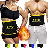 Biange Waist Trimmer Belt for Women & Men, Sweat Waist Slimmer Waist trainer, Low Back Lumbar Support, Stomach Wraps for Weight Loss, Adjustable Stomach Belly Fat Burner Wrap, 4 Size Up to 47'' / 65''
