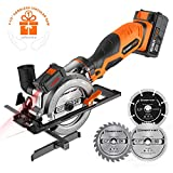 Enertwist 20V Max 4-1/2' Cordless Compact Circular Saw Kit with 4.0Ah Lithium-ion Battery & Charger, Vacuum Adaptor, Laser & Parallel Guide, 3 Blades for Wood Soft Metal and Tile Cutting, ET-CS-20C