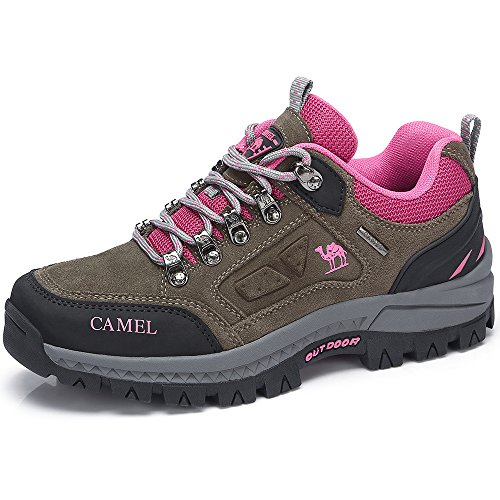 CAMEL SHOES Men's/Women's Outdoor Leather Hiking Shoes Breathable Lightweight Sneaker for Walking Trekking