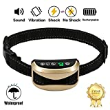 A+ Trainer [2019 Upgrade Version] Intelligent Dog No Bark Collars Upgrade 7 Sensitivity, USB Rechargeable Waterproof Dog Shock Collar with Vibration and No Harm Shock for Small Medium Large Dogs