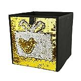 Homiak Magic Reversible Mermaid Sequins Storage Box Linen Fabric Foldable Basket Cube Organizer Bin Box Container Drawer (Golden)