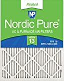 Nordic Pure 16x25x1 MERV 13 Pleated AC Furnace Air Filters, 16x25x1M13-6, 6 Pack
