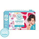 The Honest Company Super Club Box Diapers - Size 5 - Rose Blossom & Strawberries Print | TrueAbsorb Technology | Plant-Derived Materials | Hypoallergenic | 100 Count