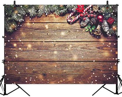 Allenjoy-8X6ft-Christmas-Fabric-Photography-Backdrop-Snowflake-Gold-Glitter-Xmas-Wood-Wall-Rustic-Barn-Vintage-Wooden-Floor-Background-for-Kids-Portrait-Photo-Studio-Booth-Photographer-Props