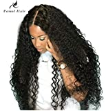 Curly Human Hair Lace Front Wigs 130% Density Brazilian Virgin Loose Deep Curly Wig with Baby Hair for Black Women 16Inch