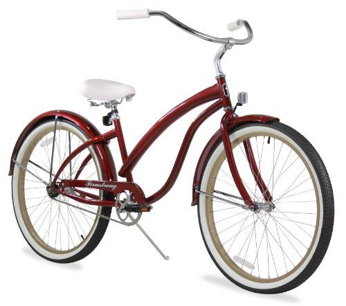 Firmstrong Bella Fashionista Single Speed Beach Cruiser Bicycle, 26-Inch, Burgundy