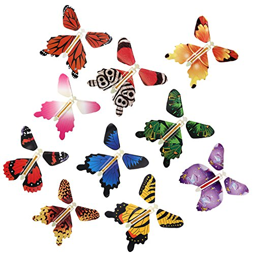 RINHOO 10Pcs Magic Fairy Flying in The Book Butterfly Rubber Band Powered Wind Up Butterfly Toy Great Surprise Wedding Birthday Gift