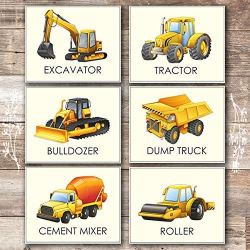 Boys Trucks – Art Prints (Set of 6) – Unframed – 8x10s | Construction Wall Decor