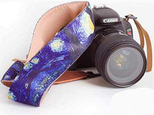 Van Gogh Starry Night Camera Strap - Universal DSLR Camera Strap, Neck Shoulder Camera Belt for Canon, Nikon, Sony, Fujifilm, and Digital Camera - Artistic & Vibrant Design - Best Photographer Gift