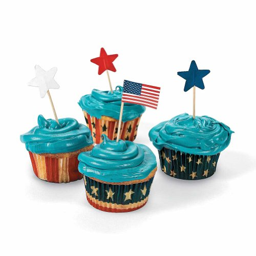 Fun Express Fourth of July Patriotic Red, White and Blue Baking Cups w/ Star