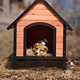 Tangkula Dog House, Wooden Pet Kennel, Outdoor Weather Waterproof Pet House, Natural Wooden Dog House Home with Reddish Brown Roof, Pet Dog House (Medium, Natural Wood)