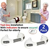 AmeriLuck 2 Pack Bath Suction Grab Bar 12' with Indicators, Bathroom Shower Handle, Medical Assist Balance Hand Grip Rail, Tub Safety of Elderly, Kid, Handicap, Injured, Pregnant