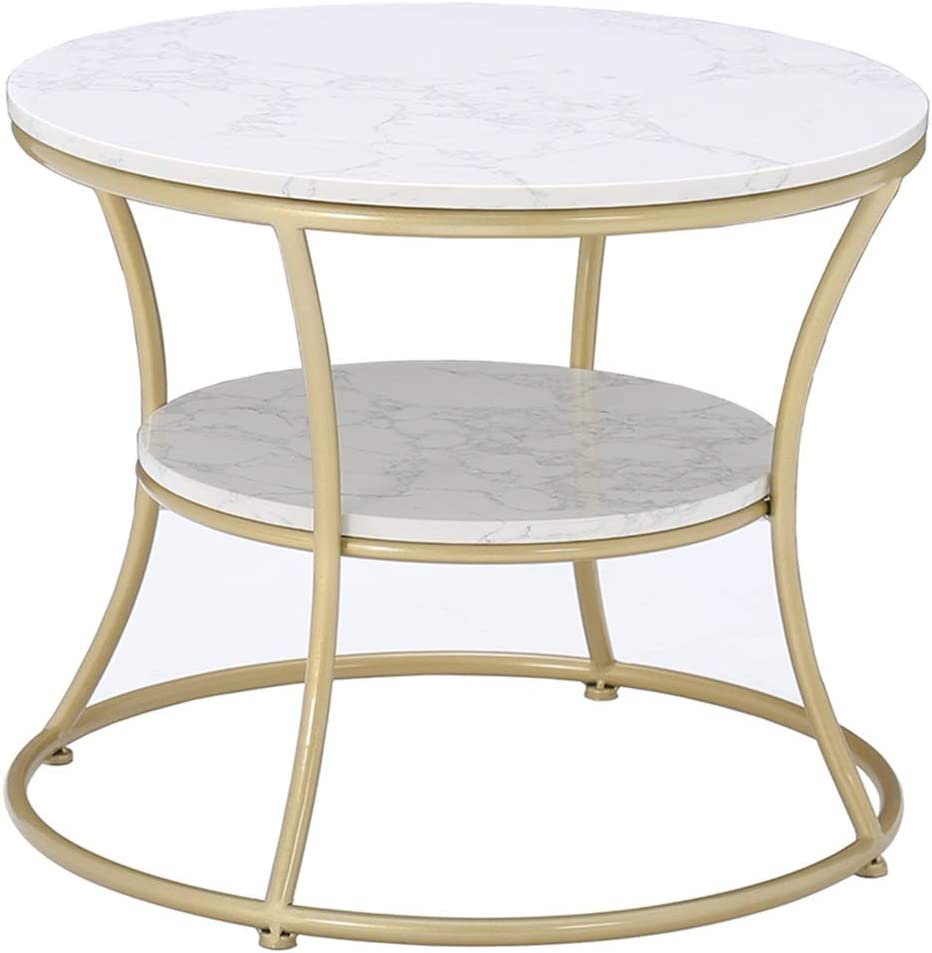 Simple Coffee Table Round Side Table Double Layered Tabletop Wrought Iron Material Suitable For Sitting Next To The Living Room Sofa Next To The Tv Cabinet Gold Amazon Co Uk Kitchen Home