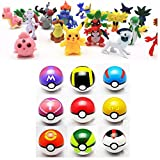 9pcs Pokemon Ball Poke Pokeball Figures Pop Toys Action Figure Pikachu Plus 24pcs Random Anime Figures