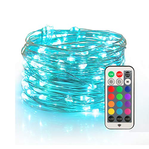 YIHONG Fairy Lights USB Plug-in String Lights with RF Remote 33ft Firefly Twinkle Lights for Bedroom Party Decoration Wedding,13 Vibrant Colors, Fade|Flash|Strobe Mode