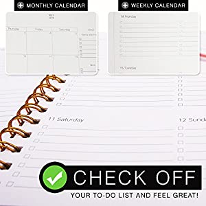 "Planner 2018 & 6 Color Pens ~ Purse-Size 9""x7.5"" ~ Hardcover Notebook with Pen Holder ~ Daily, Weekly, Monthly Calendar Agenda Planner ~ Boost Productivity for Moms, Teachers and Students"