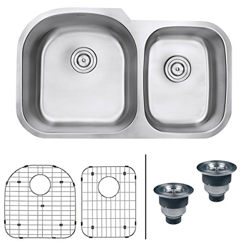 Ruvati 34-inch Undermount 60/40 Double Bowl 16 Gauge Stainless Steel Kitchen Sink - RVM4600