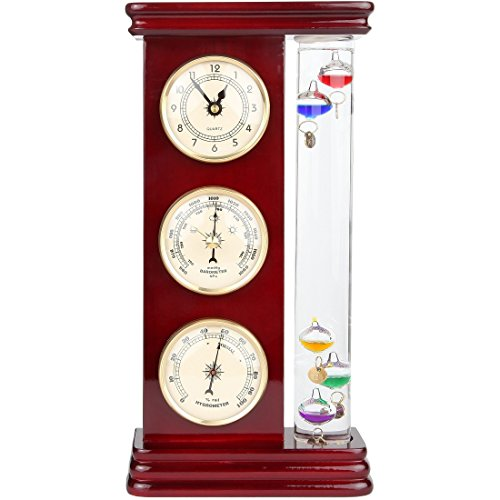 Lily's Home Analog Weather Station, with Galileo Thermometer, a Precision Quartz Clock, and Analog Barometer and Hygrometer, 5 Multi-Colored Spheres (6' L x 2' W x 12' H)
