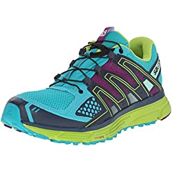 Salomon Women's X-Mission 3W Trail Running Shoe, Teal Blue/Granny Green/Passion Purple, 6 B US