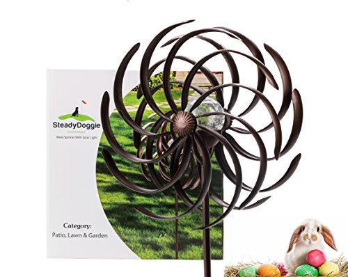 Solar-Wind-Spinner-Multi-Color-LED-Light-Solar-Powered-Glass-Ball-with-Kinetic-Wind-Spinner-Dual-Direction-for-Outside-Vertical-Metal-Sculpture-Stake-Construction-for-Outdoor-Yard-Lawn-Garden