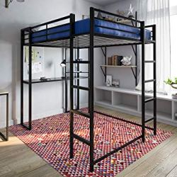DHP Abode Loft Bed Metal Frame With Desk And Ladder, Full, Black