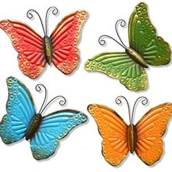 GIFTME 5 Metal Butterfly Wall Art Decor Set of 4 Colorful Garden Wall Sculptures