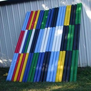 Platinum Jumps 2-Stripe Colored 10ft Rails/Poles Wood Horse Jumps