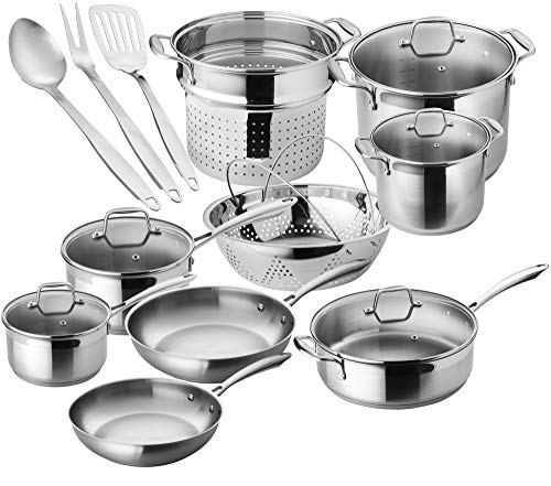 Chef's Star Premium Pots And Pans Set - 17 Piece Stainless Steel Induction Cookware Set - Oven Safe