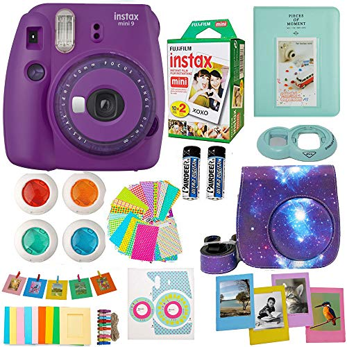 Fujifilm Instax Mini 9 Camera (USA) + Accessories kit for Fujifilm Instax Mini Camera Includes Instant Camera + Fuji Instax Film (20 PK) Case + Frames + Selfie Lens + Album and More (Purple)