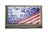 Patriotic American Flag Red White and Blue Business Card Holders Bank Name Case Holder Bronze Card Credit ID Case Box Pocket Wallet Purse