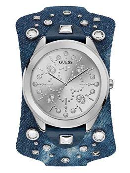 GUESS Women's Stainless Steel Quartz Leather Calfskin Strap, Blue, 51.6 Casual Watch (Model: U1139L1)