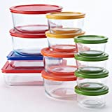 Pyrex 24 pc. Glass Storage Set with Color Lids, clear
